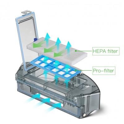 Filtr HEPA w odkurzaczu Dibea D960 zatrzyma najdrobniejsze cząsteczki bakterii