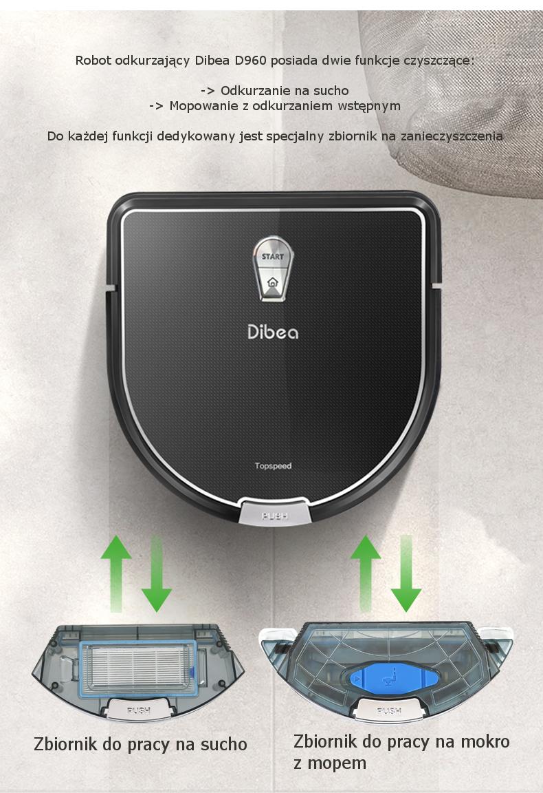 Robot odkurzający Dibea D960 odkurza i mopuje