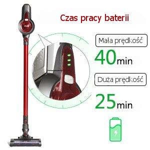 czas pracy baterii odkurzacza pionowego Dibea C17